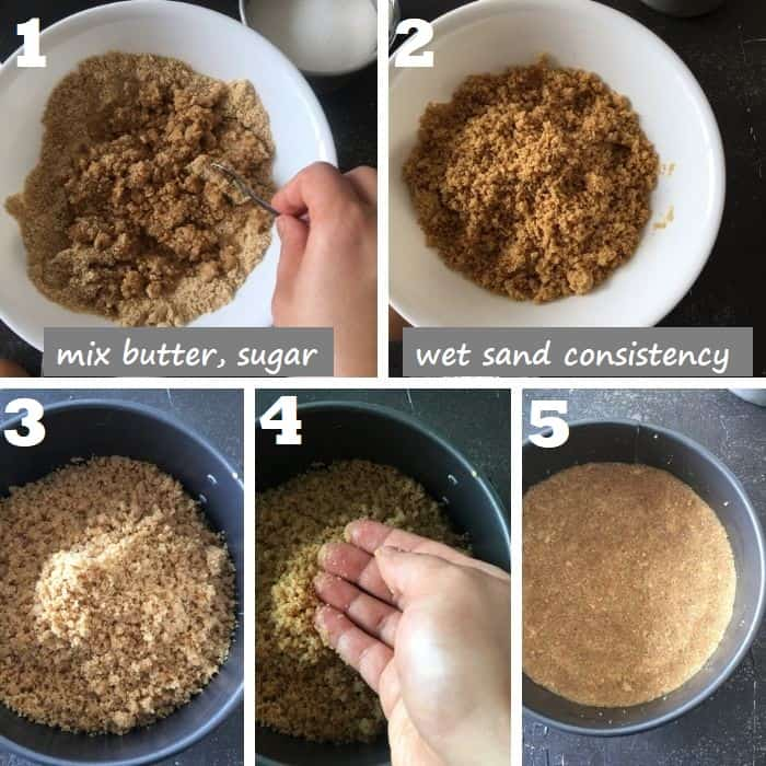 Making the step by step cheesecake graham cracker crust
