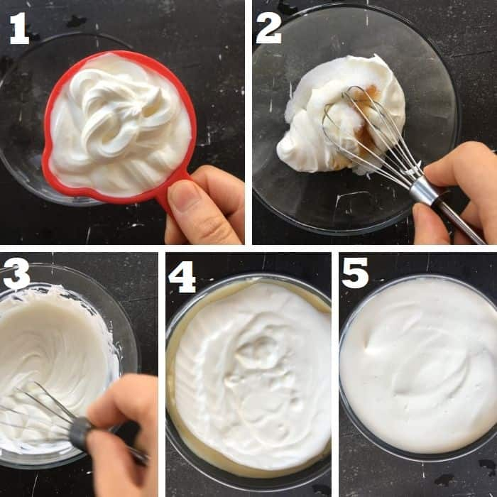making the sour cream topping for a classic new york cheesecake
