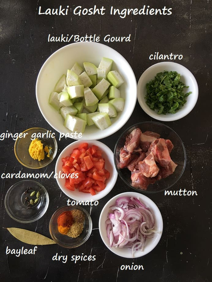 Recipe Ingredients in bowls on a black board