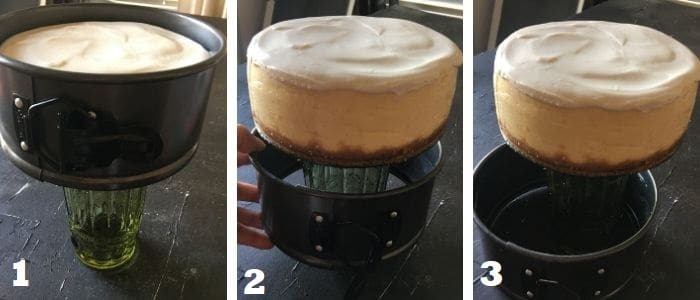 Releasing the Cheesecake from the springform pan with the help of a glass