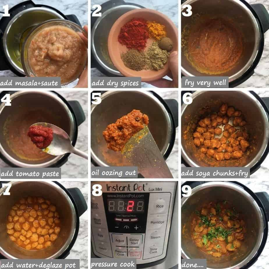 How to make Soya Bean Curry step by step in Instant Pot