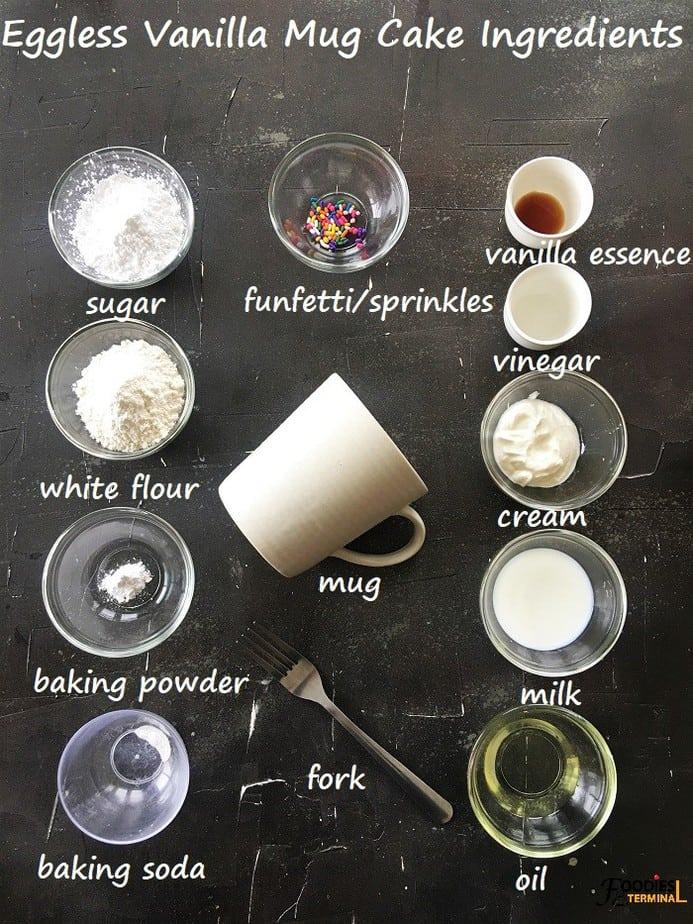 Moist vanilla mug cake ingredients in bowls