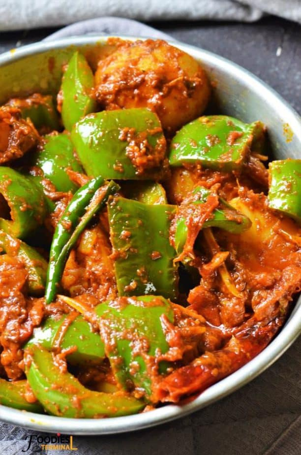 Indian Aloo Capsicum recipe with green bell peppers and potatoes