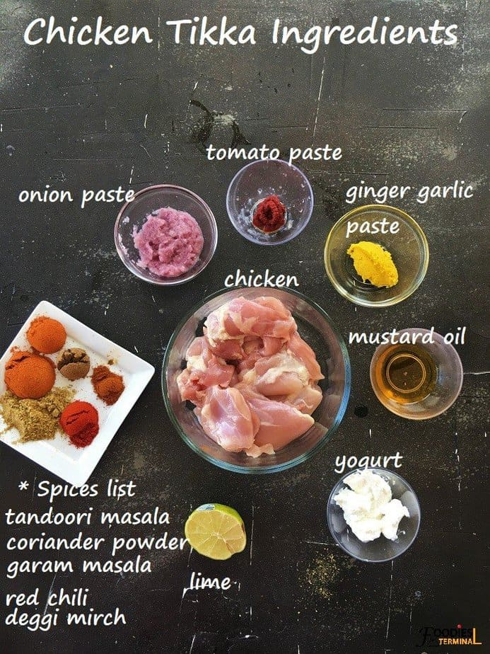 Chicken Tikka kebab ingredients