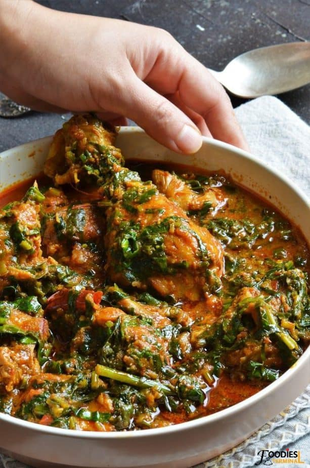 Palak chicken in a big bowl