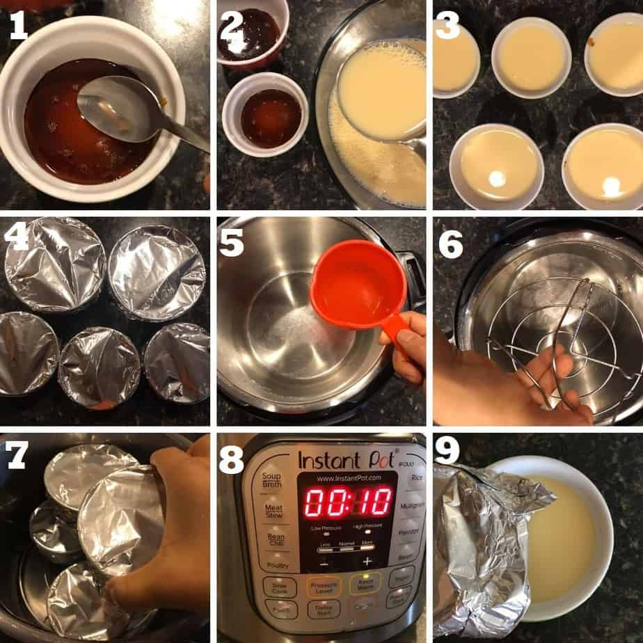 how to pressure cook caramel custard in Instant pot step by step with process shots of each step