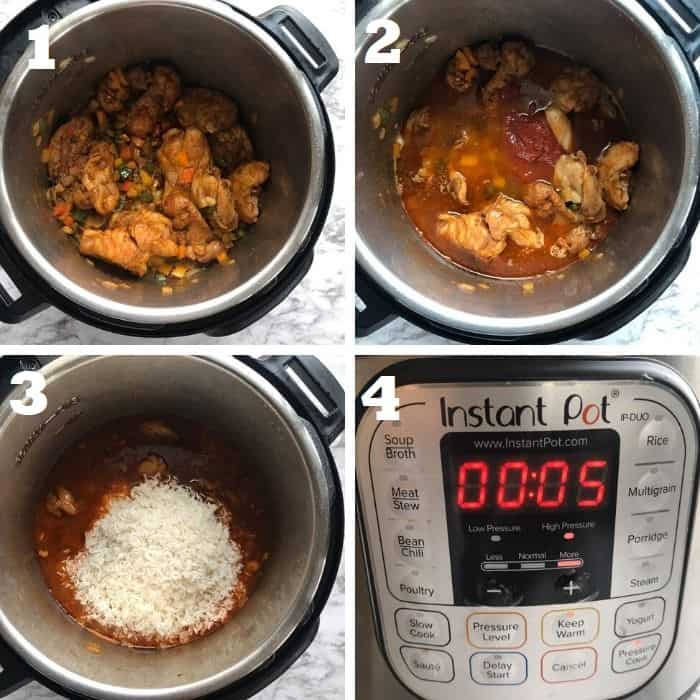 pressure cooking cajun chicken and rice in the instant pot step by step