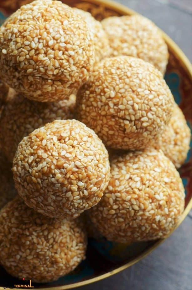 soft til gud laddu stacked in a pile
