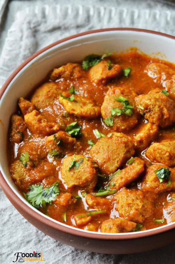 Soya chunks curry made with nutrela served in bowl
