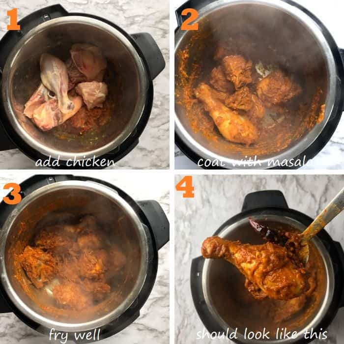 step by step frying the chicken with the masala base