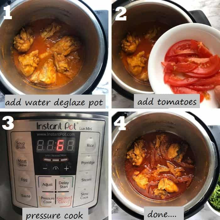 step by step pressure cooking the chicken