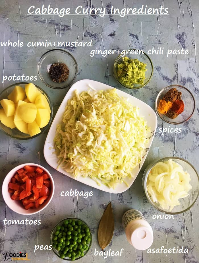 Instant Pot cabbage curry ingredients in bowls on a grey surface
