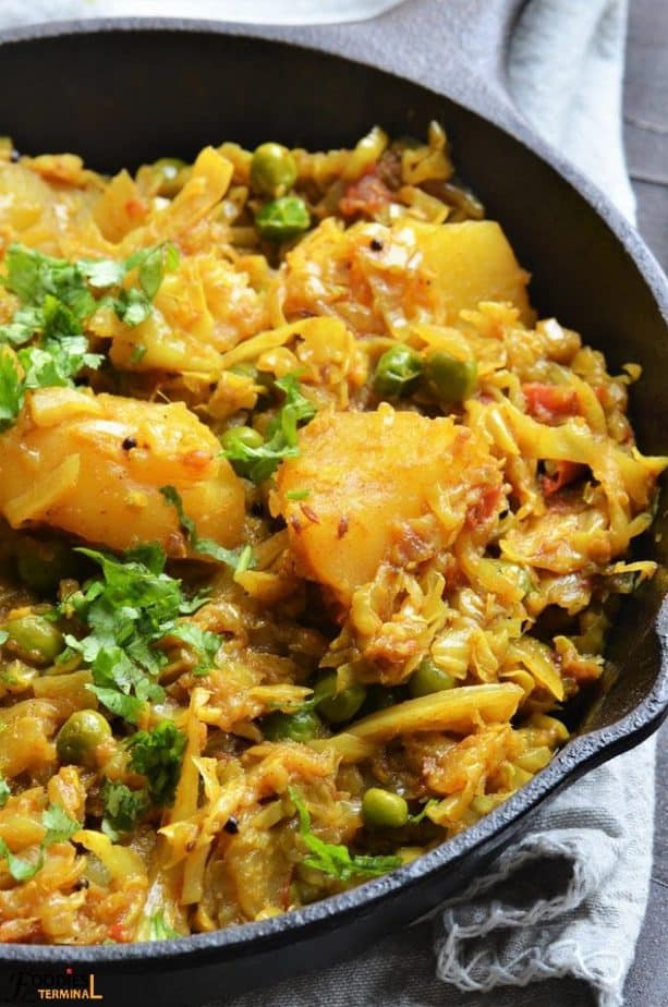 Cabbage Curry served in a cast iron pan