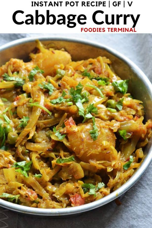 Cabbage Curry garnished with coriander leaves in an aluminum plate