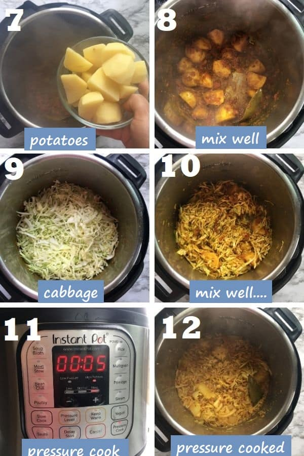 how to pressure cook cabbage curry in instant pot step by step