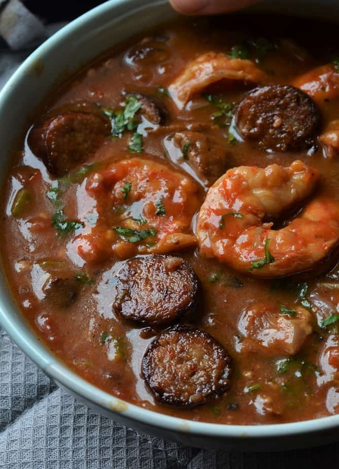 Instant Pot Gumbo in a pale blue bowl