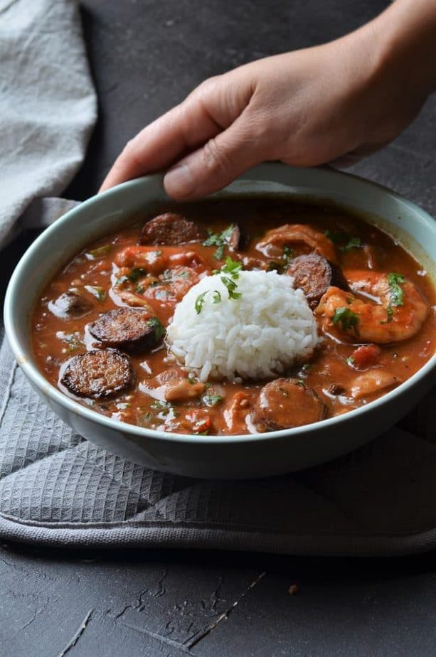 instant pot chicken and sausage gumbo in a grey bowl