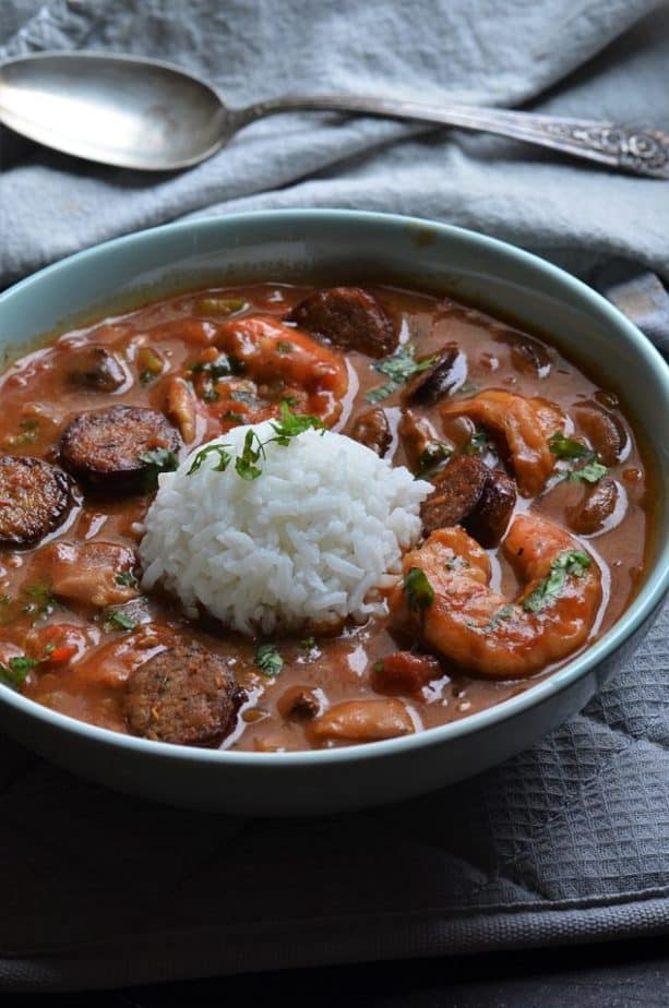 Instant Pot Gumbo with chicken sausage shrimps and rice