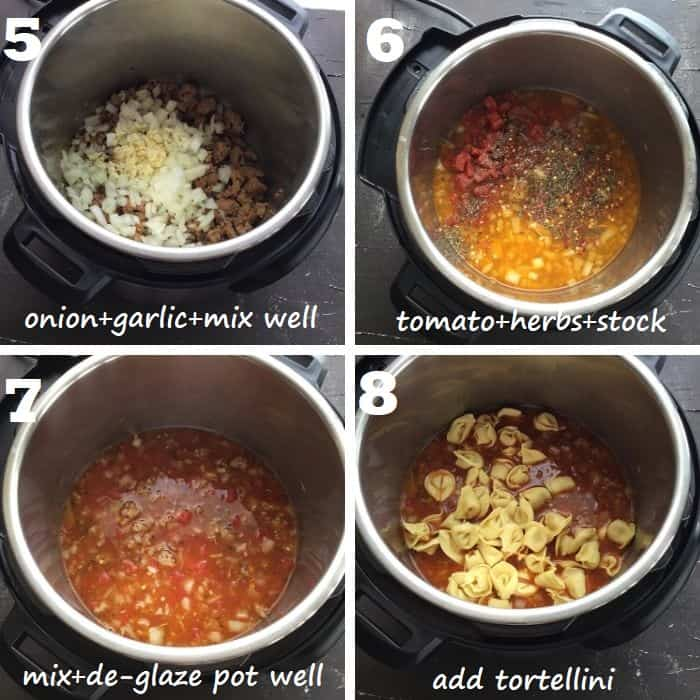 aromatics, stock and tortellini being added in instant pot to make the soup