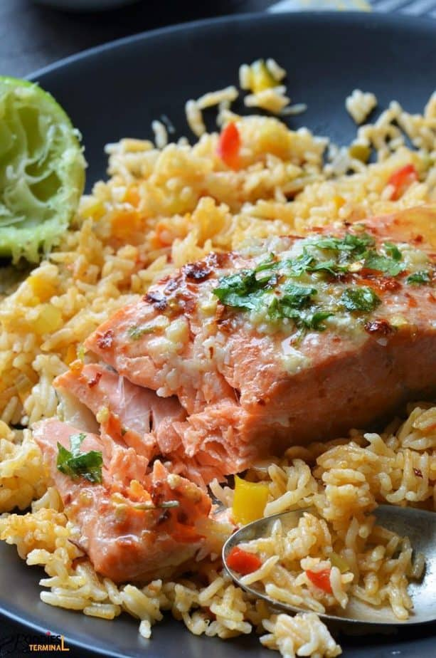Pressure Cooker Salmon fillet served on rice with lemon butter sauce