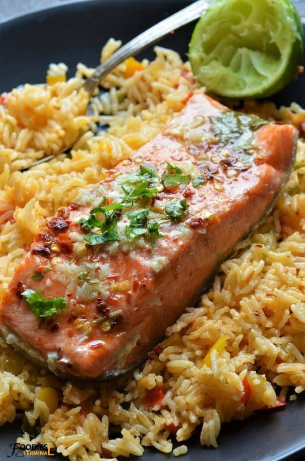 Instant Pot Salmon and White Rice with salmon fillet on top of rice