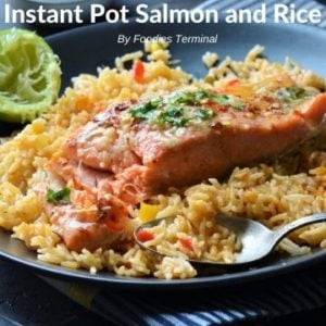 Instant Pot Salmon and rice served with lime