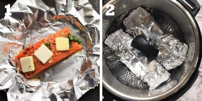 Steaming salmon in foil packets in instant pot