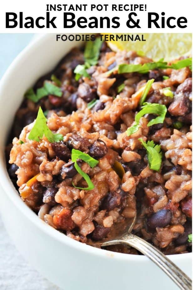 Black Beans and Rice Instant Pot garnished with cilantro