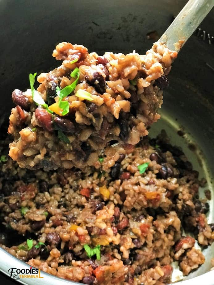 Black Beans and Rice Instant Pot in a ladle
