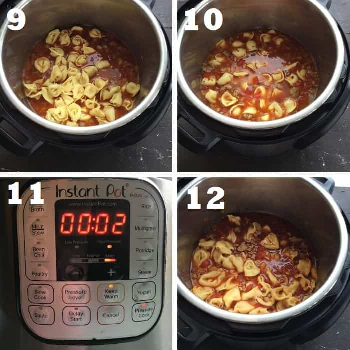 pressure cooking the sausage tortellini soup in the instant pot