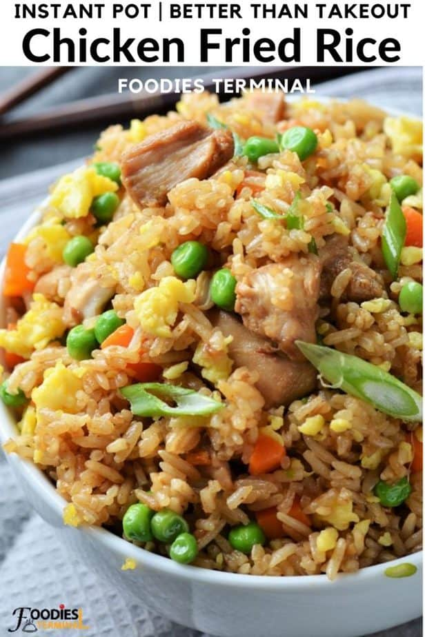 Chinese chicken fried rice even better than restaurant in a white bowl