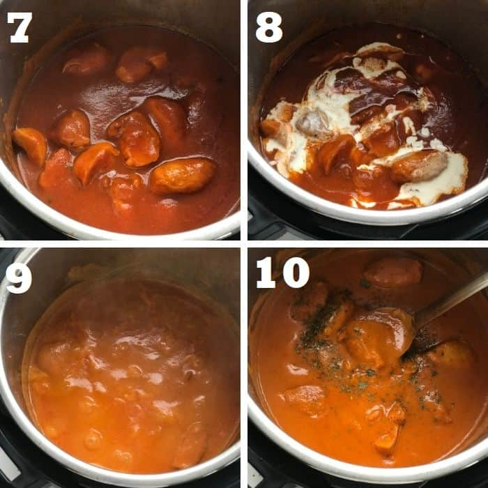 simmering indian butter chicken in instant pot step by step
