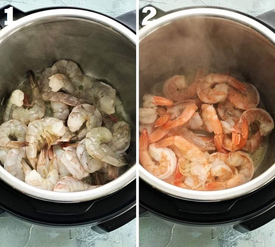 sauteing shrimps in instant pot for healthy shrimp scampi