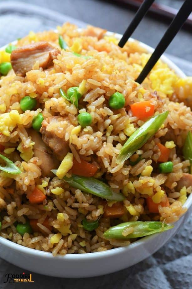 Take out style chicken fried rice in white bowl