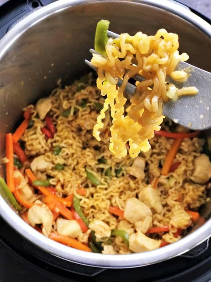 Instant pot ramen noodle stir fry in a fork