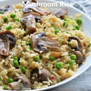 Mushroom Rice with peas