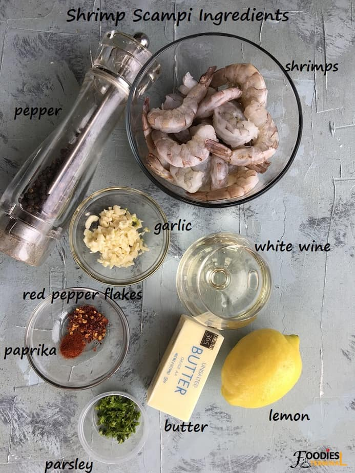 recipe ingredients on a gray board