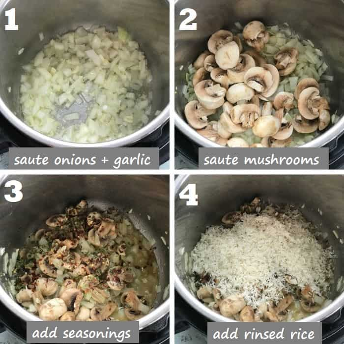 how to make mushroom rice in instant pot step by step
