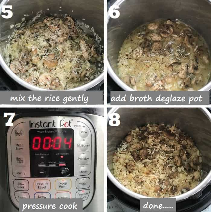 Pressure cooking instant pot mushroom rice step by step