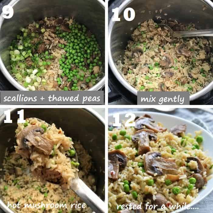 fluffing the cooked mushroom rice pilaf and adding peas and scallions