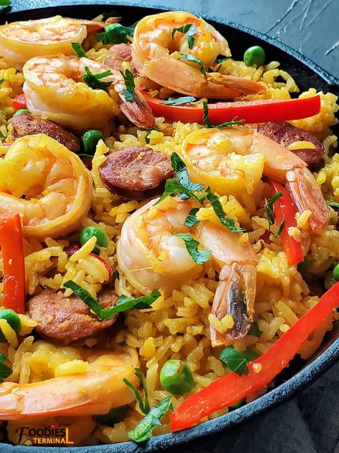 Spanish Paella with Chorizo, Shrimp saffron, red bell pepper and peas