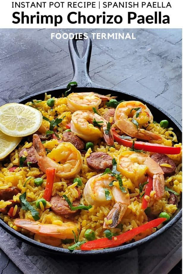 Instant Pot Paella served in an iron skillet