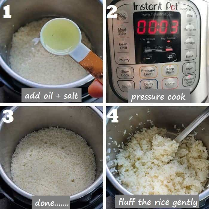 Collage of Pressure cooking jasmine rice in instant pot step by step