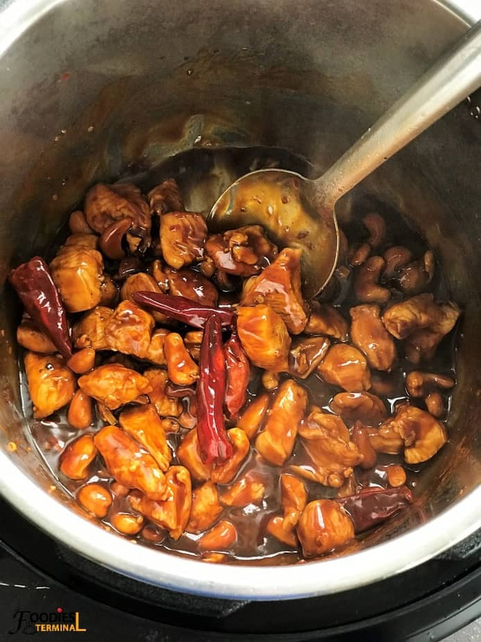 Cashew chicken in Instant Pot with Chinese red chilies