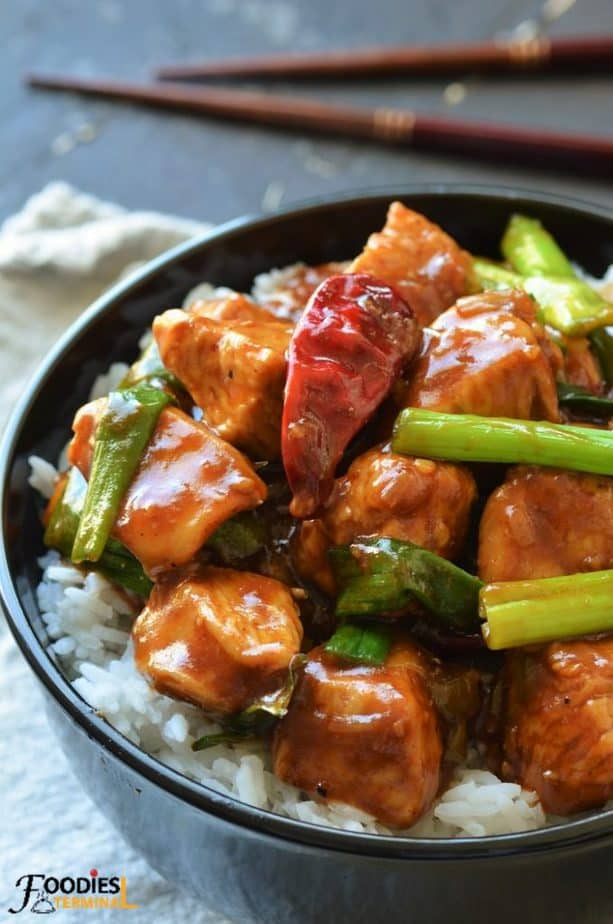 Instant pot Mongolian chicken with chicken breasts & green onion served with rice