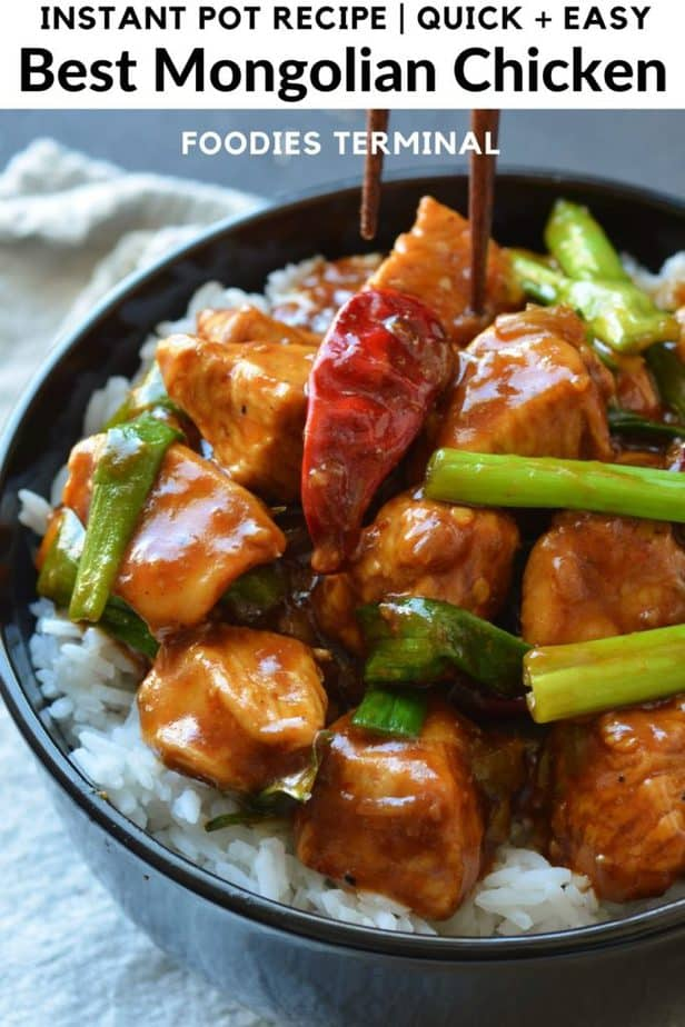 mongolian chicken instant pot on white rice