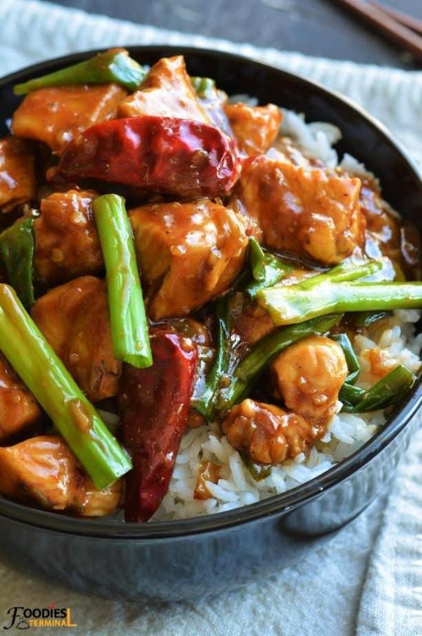 Asian take out Mongolian Chicken with Mongolian sauce