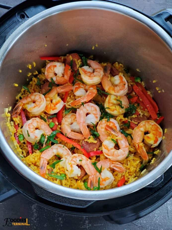 Chorizo and Shrimp Paella in Instant Pot