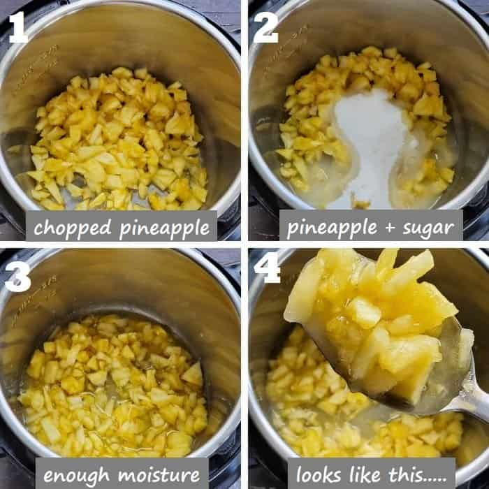 prep fresh pineapple chunks with sugar & lemon juice in instant pot