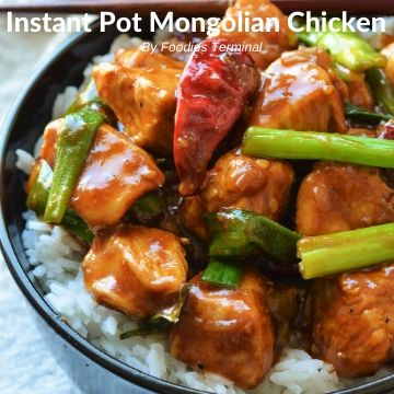 Mongolian Chicken served on white steamed rice
